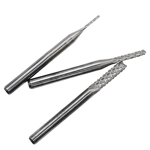 Fan-Ling 10x 1/8'' 0.8-3.175mm PCB Drill Bit Set Engraving Cutter Rotary CNC End Mill New,Titanium plating Material,WIth Box (Silver) (End Mill Adapter)