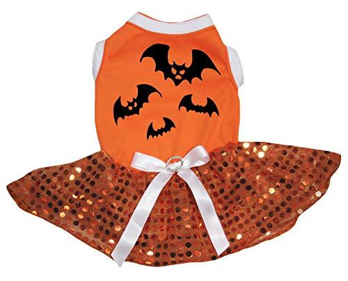 Petitebella Bats Orange Shirt Orange Sequins Tutu Puppy Dog Dress (XX-Large)