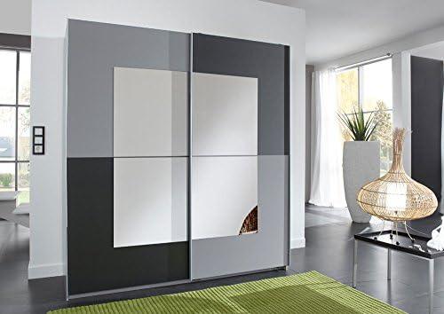 Armario de puertas correderas en colour gris oscuro y Aluminio-barrio, con diseño de espejo de aplicaciones, con 2 baldas y 2 barras de, tamaño: B/H/T unos 180/198/64 cm: Amazon.es: Hogar