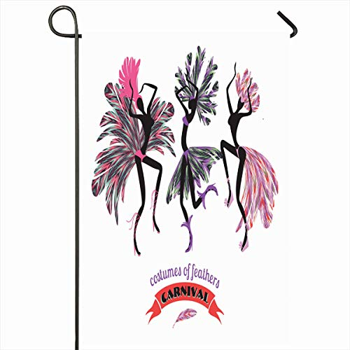Ahawoso Outdoor Garden Flag 12x18 Inches Brazilian Brasil Dancing Carnival Costumes Feathers Abstract Tourism Samba Brazil America Beach Two Sides Seasonal Home Decor House Yard Sign Banner]()