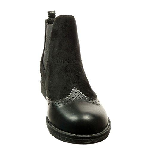 Angkorly - Zapatillas Moda Botines chelsea boots bimaterial mujer acabado costura pespunte Talón Tacón ancho 2 CM Negro