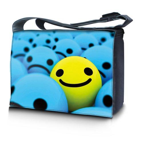 Luxburg® Design bolso bandolera de mensajero, de escuela bolso para portátil ordenadores Laptop Notebook 15,6 pulgadas, motivo: Hombres multicolores Smiley