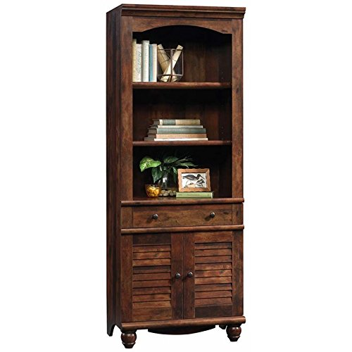 Sauder 420476 Harbor View Library with Doors, L: 27.21'' x W: 17.48'' x H: 72.24'', Curado Cherry finish