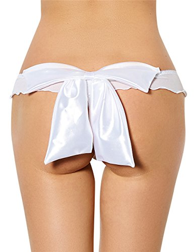 Glamorous Thong (Oliveya Womens Cheeky Panties White Lace Thongs Brief Cute Lesbian Underwear M)