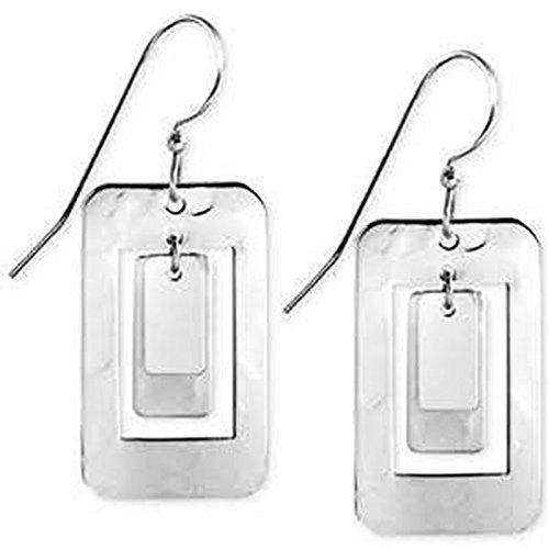 Silver Forest Silvertone Open Rectangles Dangle Earrings ()