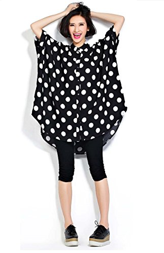 Ninmon Shares Casual Loose Cute Dot Blouse T-Shirt Dresses For Women Button Down Tops Tees (Dot Black)
