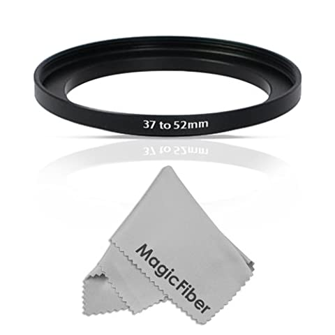 Goja 37-52MM Step-Up Adapter Ring (37MM Lens to 52MM Accessory) + Premium MagicFiber Microfiber Cleaning - 52 Mm Step