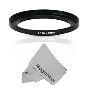 Goja 37-52MM Step-Up Adapter Ring (37MM Lens to 52MM Accessory) + Premium MagicFiber Microfiber Cleaning Cloth