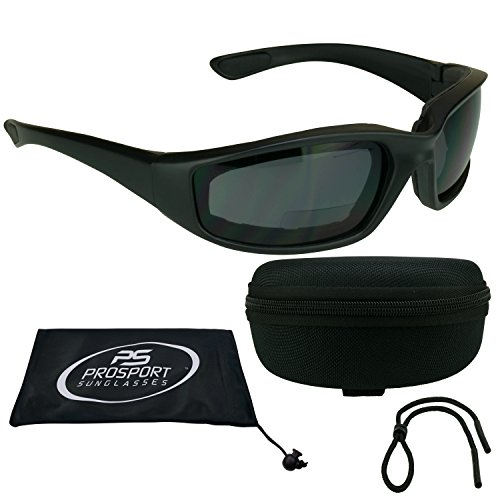 ANSI Z87 Motorcycle Bifocal Sunglasses 2.5 foam padded for Men and Women - Free Hard Case and Sunglass - For Motorcycles Riding Best Sunglasses