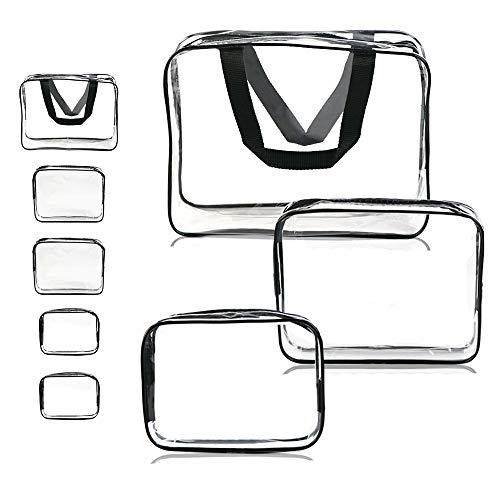 Clear Makeup Bag, APREUTY TSA Air Travel Cosmetic Toiletry Bag Set with Zipper Pouch Portable Waterproof PVC Organizer Makeup Case for Women Men (5 PCS, Clear/Black)