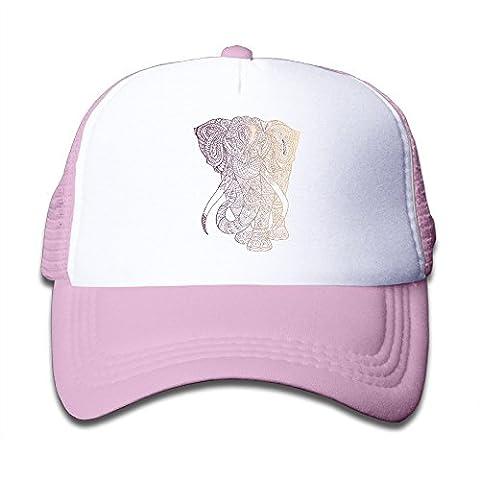 Adjustable Caps Children Fashion Tribal Elephant Designs Trucker Mesh Hats Pink (Baby Mammoth Mummy)
