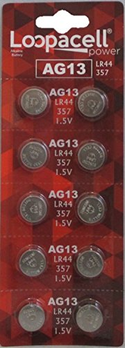 LOOPACELL AG13 LR44 L1154 357 76A A76 Button Cell Battery 10 Pack