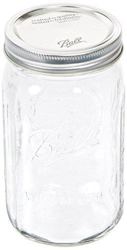 Ball 67000 Quart Wide Mouth Mason Jars, Silver Lids