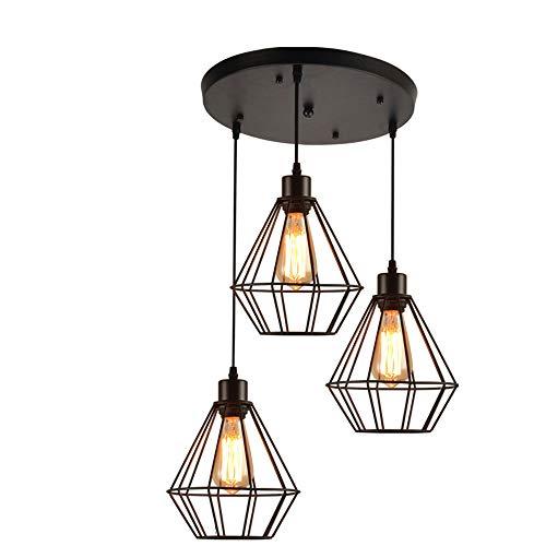 (Rcircle Pendant Lighting Vintage Polygon Wire Ceiling Light, Industrial Black Adjustable Chandelier Light Fixture for Kitchen Island, Living Room, Restaurants Art Decor (Design : 3-Lights Round))