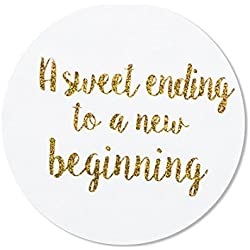 "80-2"" a Sweet Ending to a New Beginning Stickers, Wedding Favor Stickers Labels"