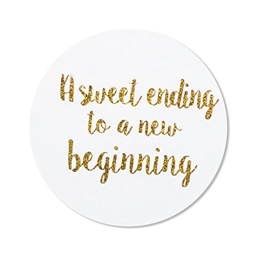 "80- 2"" a sweet ending to a new beginning stickers, wedding favor stickers ()"