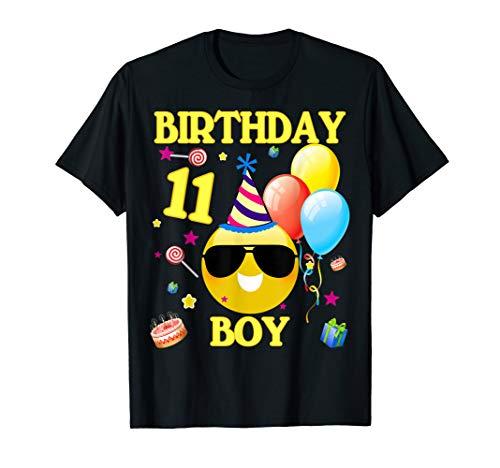 11th Emoji Birthday Boy Shirt 11 Years Old Gifts A2
