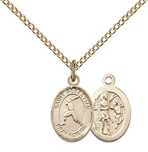 F A Dumont 14kt Gold Filled St. Sebastian/Baseball Pendant with 18