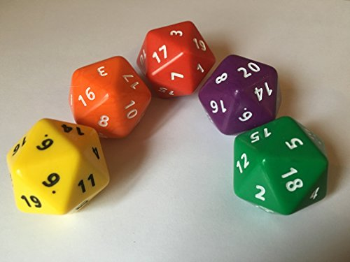 Jumbo D20 - Face Numbers 1-20 40mm (Pack of 5)