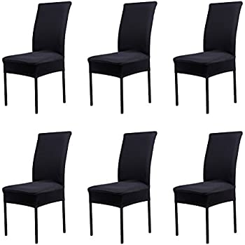 CosyVie Super Fit Universal Stretch Dining Chair Covers Removable Washable Slipcovers For Room Chairs 6 Pcs Pack Classical Black