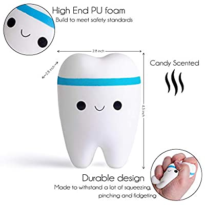 Super Slow Rising Jumbo Squishy Tooth - Soft & Scented Kawaii Stress Relief Teeth Squishies for Boys, Girls & Adults - Top Moms Day Gift Idea & Best Birthday Present for Kids, Tweens & Teens 2020: Toys & Games