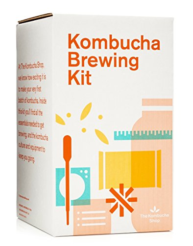 The Kombucha Shop Kombucha Brewing Kit with 1 Gallon Glass Brew Jar, Kombucha SCOBY and Starter Pouch, Temperature Gauge, pH Strips, Loose Leaf Tea and More (Best Tea For Kombucha Brewing)