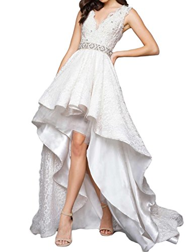 Fnina Women's 2017 High Low Beading Prom Dresses Formal Gowns Size 12 White