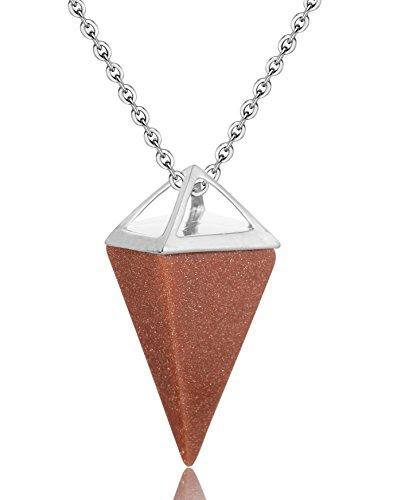 WRCXSTONE Gemstone Quadrangular Pendulum Necklace