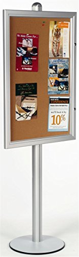 "Enclosed Bulletin Board 76""h x 28-1/16""w x 18""d Brushed Silver Aluminum Frame and Pole Floor Standing Corkboard with 24""w x 36""h Area – Freestanding Message Holder Features One Lock to Prevent Tampering"