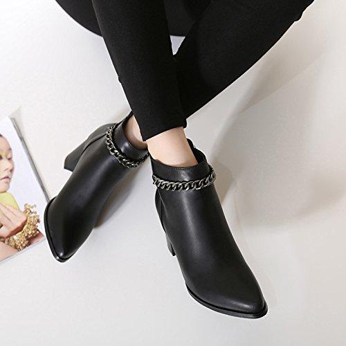 Schwarz Damenstiefel nackten Tipp hohem Stiefeln mutiger Woche für ZHZNVX hochhackiger spitzer und Damen und mit stilvoller Absatz neuer der UTCnq