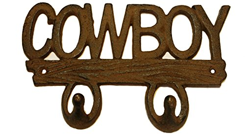 Double Horseshoe Hook (Rustic COWBOY Cast Iron Decorative Double Wall Hook)