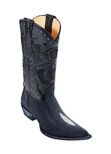 (Los Altos Men's 3X Toe Black Genuine Leather Stingray Skin Single Stone Western Boots W/Cowboy Heel)