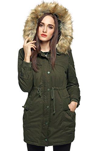 Finejo Women Winter Warm Fleece Parka Thicken Jacket Hooded Down Coat Army Green XXX-Large