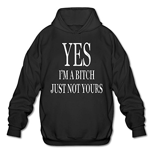 Gongzhiqing Men's Long Sleeve Cotton Hoodie Yes I'm A Bitch But Not Yours SweatshirtBlack (Printed Hoodie Logo Short Sleeve)