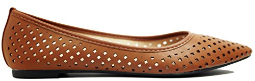 Walstar Womens Punta Comoda Piatta Pompe Scarpe Tan Perforate