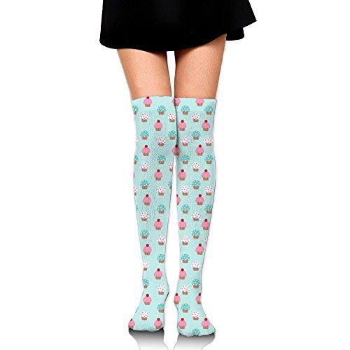 (MC WUAHW Womens Thigh High Long Tube Socks Love Cupcake Thin Stockings For Soccer)