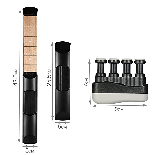 Portable Pocket Guitar Practice Tool Gadget Guitar Chord Trainer 6 Fret Black + Portable Guitar Bass Finger Exerciser (black) + Guitar Scale Stickers Fingerboard Note Decals for Beginner Practice - Image 4