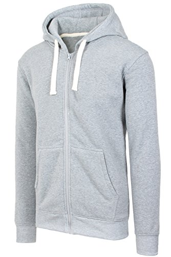 JC DISTRO Mens Hipster Hip Hop Basic Heavy Weight Zip-Up Grey Hoodie Jacket Small