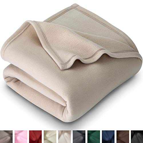 Bare Home Polar Fleece Cozy Bed Blanket - Hypoallergenic Premium Poly-Fiber Yarns, Thermal, Lightweight Blanket (King, Oyster)