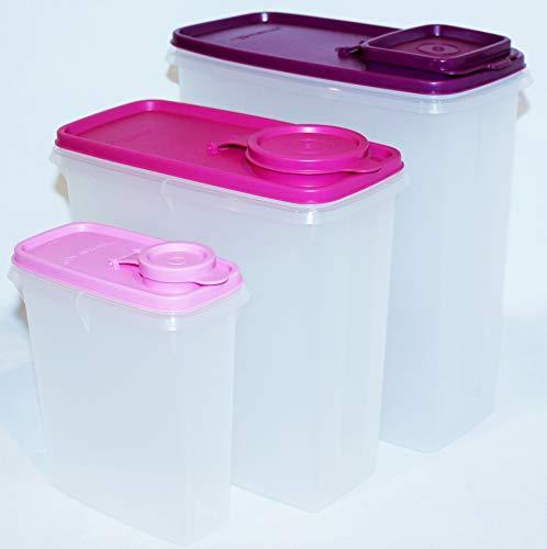 Tupperware Set of 3 Cereal Storers Super, Regular and Junior Purple and Pink (Tupperware Super Cereal)