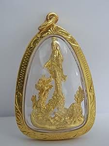 Feng Shui chino Mahamongkol amuleto Talisman diosa budista Guanyin Yin Kuan (Yin Quan) en buena suerte éxito fortuna Estatua del dragón y buena protección colgante