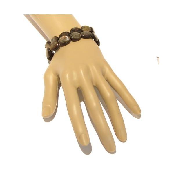 Mica-Bracelet-01-Genuine-Black-Gold-Oval-Stone-Stretch-Crystal-Healing-Sheen-Gift-Box