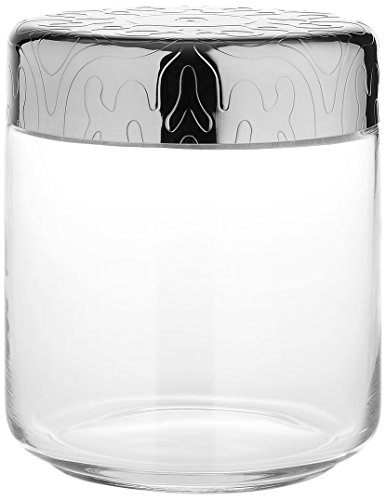 """Alessi MW21/75""""Dressed"""" Glass Jar Hermetic Lid in 18/10 Stainless Steel Mirror Polished With Relief Decoration, Silver"""