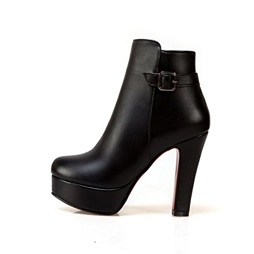 AdeeSu Womens Metal Buckles Chunky Heels Urethane Boots SXC02550 Black GgifJyV