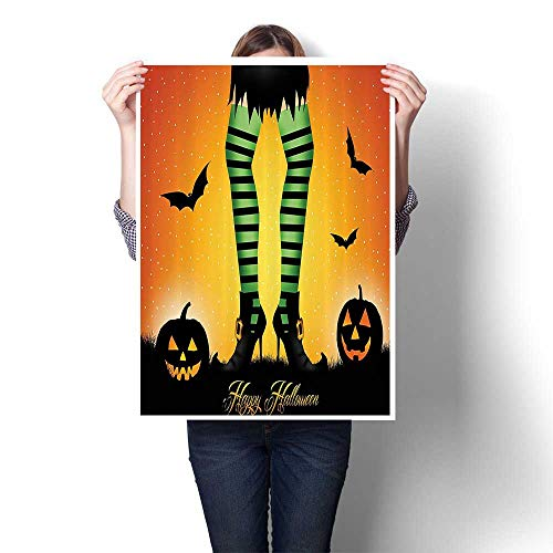Leggings Print Avenue (Wall Art Canvas Prints Carto Witch Legs with Striped Leggings Western Culture Ccept Bats Print Paintings for Home Wall Office Decor,24