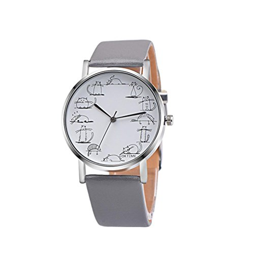- Ruhiku GW Unisex Retro Design Lovely Cartoon Cat Leather Band Analog Alloy Quartz Wrist Watch (Gray)