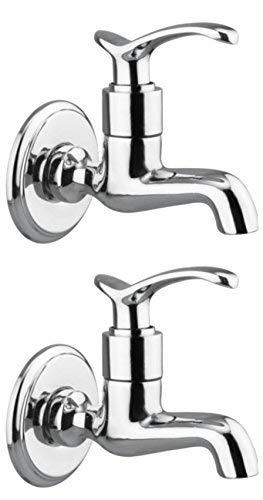 Drizzle Bib Cock Duck Brass Chrome Plated/Bathroom Taps Quarter Turn - Set Of 2
