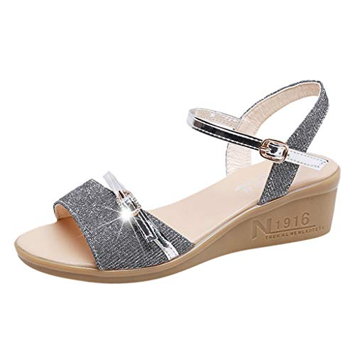 Women Ankle Straps Sandals,Ladies Open Toe Wedge Sandals Sexy Thick Bottom Outdoor Shoes