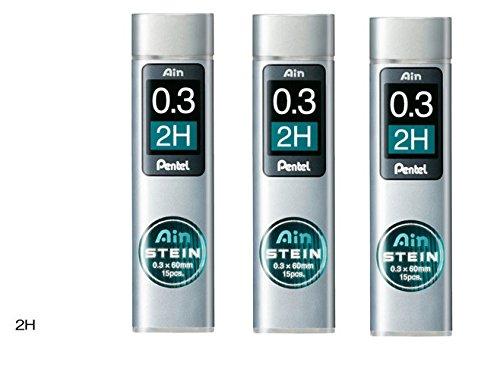 [set di 3] portamine Pentel Core replacement Ain Stein 0.3mm 2B C273–2H–15× porta 3dal Giappone