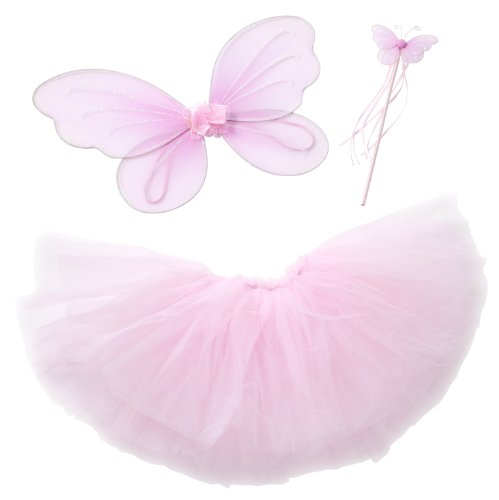 Pink Shimmer Ballerina - Fairy Princess Tutu Costume Set For Girls Dress up and Ballet Dance (M 3-4 Yrs Old) - Pink
